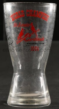 5c018 ST. LOUIS CARDINALS drinking glass 1964 World Champions, logo and facsimile signatures!