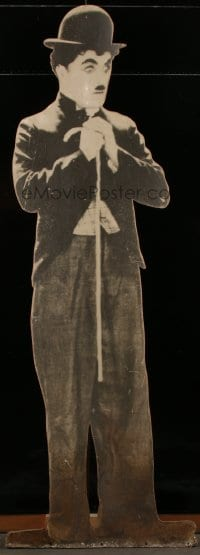 5c066 CHARLIE CHAPLIN 25x71 standee 1931 full-size image as The Tramp with bowler & bamboo cane!