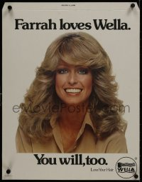 5c067 FARRAH FAWCETT standee 1970s smiling close-up, she loves Wella hair products & you will too!