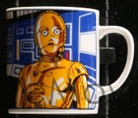 5c005 STAR WARS 3 dishes & mug 1980s George Lucas classic sci-fi epic, C-3PO, R2-D2, Chewbacca!