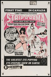 5f073 STRIP-O-RAMA Canadian 1sh 1971 wacky sexy stripper art, a nude height of adult delight!