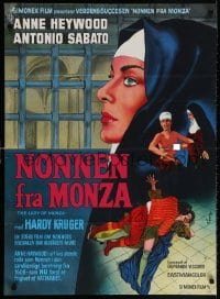 5f034 LADY OF MONZA Danish 1970 her other love is God, Wenzel art of nun Anne Heywood!