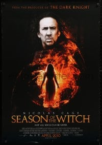 5f039 SEASON OF THE WITCH advance DS Dutch 2011 image of Nicolas Cage & flaming sword!