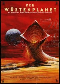 5f078 DUNE German 1984 David Lynch sci-fi epic, Berkey art of desert planet & worm!
