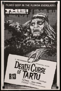 5f010 DEATH CURSE OF TARTU 15x22 New Zealand poster 1974 Native American Indian zombies!