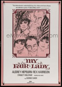 5f044 MY FAIR LADY Swedish R1974 art of Audrey Hepburn & Rex Harrison by Bob Peak!