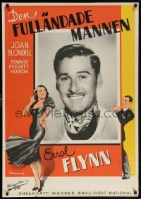 5f045 PERFECT SPECIMEN Swedish 1938 smiling close-up of Errol Flynn & Rohman art, ultra-rare!
