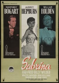 5f046 SABRINA Swedish 1955 best different image of Audrey Hepburn, Humphrey Bogart & Holden, rare!
