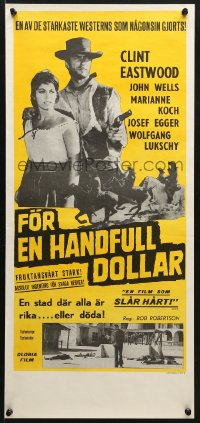 5f047 FISTFUL OF DOLLARS Swedish stolpe 1965 Sergio Leone, different images of Clint Eastwood!