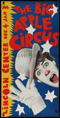 5g029 BIG APPLE CIRCUS 21x42 circus poster 1981 different Paul Davis artwork of clown tipping hat!