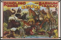 5g041 RINGLING BROS & BARNUM & BAILEY 23x36 commercial poster 1970s cool art of circus animals!