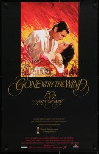 5g060 GONE WITH THE WIND 23x36 video poster R1989 Terpning art of Gable carrying Leigh over Atlanta!