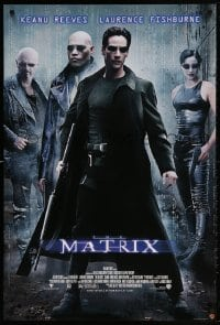 5g063 MATRIX 27x40 video poster 1999 Keanu Reeves, Carrie-Anne Moss, Laurence Fishburne, Wachowskis