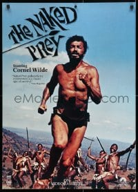5g064 NAKED PREY 23x32 video poster R1986 Cornel Wilde stripped and weaponless in Africa running from killers!