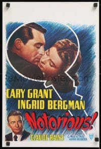 5g040 NOTORIOUS 14x21 Belgian REPRO poster 1980s art of Cary Grant & Ingrid Bergman, Hitchcock classic!