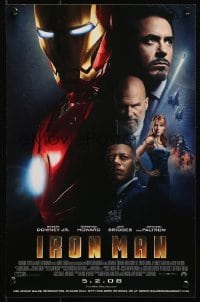 5g031 IRON MAN advance mini poster 2008 Robert Downey Jr. is Iron Man, cool image of suit!