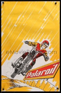 5g047 POLAROIL 15x22 French advertising poster 1970s cool art of rider & motorcycle!