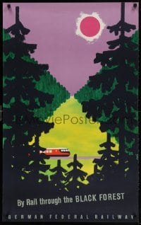 5g080 GERMAN FEDERAL RAILWAY BLACK FOREST 25x39 German travel poster 1950s cool art of train!