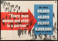 5g004 EVERY MAN WOMAN & CHILD IS A PARTNER 28x40 WWII war poster 1942 high production goals!