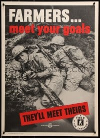 5g006 FARMERS MEET YOUR GOALS 20x28 WWII war poster 1943 two soldiers in mud with meat & beans!