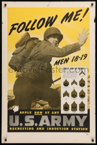 5g007 FOLLOW ME MEN 18-19 25x38 WWII war poster 1942 image of a soldier and military insignia!