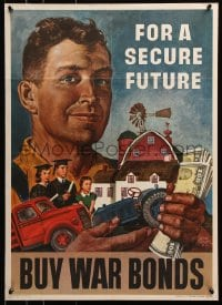 5g008 FOR A SECURE FUTURE 20x28 WWII war poster 1945 family and farm in man's arms by Amos Sewell!