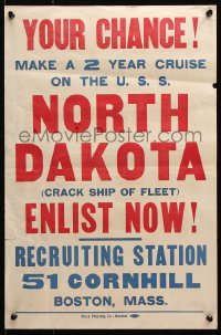 5g013 YOUR CHANCE 14x21 WWI war poster 1910s serve aboard the crack ship USS North Dakota!