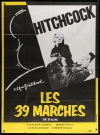 5j035 39 STEPS French 1p R1980s Robert Donat, Madeleine Carroll, cool art of Alfred Hitchcock!