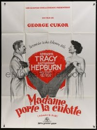5j042 ADAM'S RIB French 1p R1980s Spencer Tracy & Katharine Hepburn are lawyers, different art!