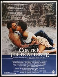 5j047 AGAINST ALL ODDS French 1p 1984 Jeff Bridges makes out with Rachel Ward on the beach!