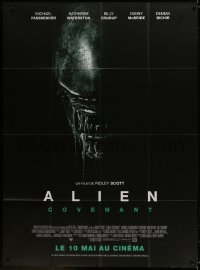 5j053 ALIEN COVENANT advance French 1p 2017 Ridley Scott, Fassbender, drooling monster close up!