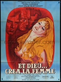 5j067 AND GOD CREATED WOMAN French 1p R1964 art of sexy naked Brigitte Bardot by Rene Peron!