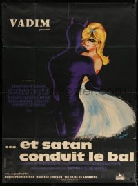 5j068 AND SATAN CALLS THE TURNS French 1p 1962 art of Catherine Deneuve dancing with Devil by Siry!