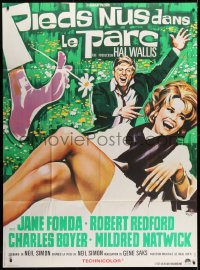 5j099 BAREFOOT IN THE PARK French 1p 1967 different Roje art of Robert Redford & sexy Jane Fonda!
