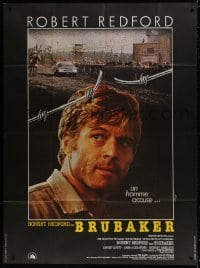 5j177 BRUBAKER French 1p 1981 different image of warden Robert Redford in Wakefield prison!