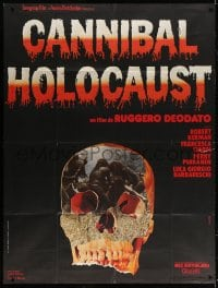 5j195 CANNIBAL HOLOCAUST French 1p 1981 gruesome Italian horror, wild different skull image!