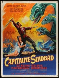 5j202 CAPTAIN SINDBAD French 1p 1963 cool different art fighting dragon by Roger Soubie, rare!