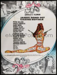5j206 CASINO ROYALE French 1p 1967 Bond spy spoof, sexy psychedelic Kerfyser art + photo montage!