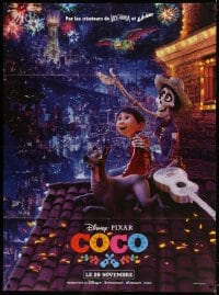 5j233 COCO advance French 1p 2017 great image on rooftop watching fireworks in the Land of the Dead!