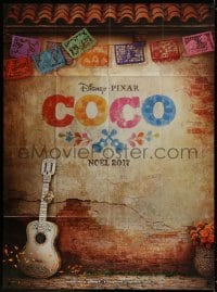 5j232 COCO advance French 1p 2017 great image of guitar leaning against brick wall, Disney/Pixar!