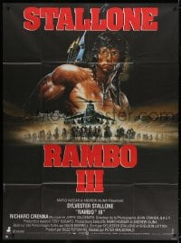 5j736 RAMBO III French 1p 1988 Sylvester Stallone returns as John Rambo, cool different Casaro art!