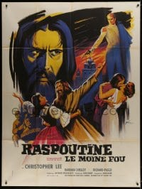 5j738 RASPUTIN THE MAD MONK French 1p 1966 best different art of Christopher Lee by Boris Grinsson!