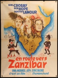 5j761 ROAD TO ZANZIBAR French 1p 1949 Poissonnie art of Crosby, Hope, Lamour & African natives!
