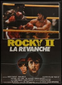 5j766 ROCKY II French 1p 1979 different image of Sylvester Stallone & Carl Weathers boxing in ring!