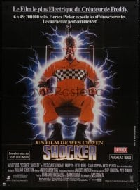5j808 SHOCKER French 1p 1990 Wes Craven, wild image of electrocuted murderer Mitch Pileggi!