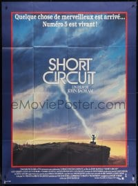 5j809 SHORT CIRCUIT French 1p 1986 cool artwork of Johnny Five being struck by lightning by John Alvin!