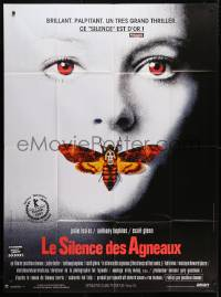 5j813 SILENCE OF THE LAMBS French 1p 1990 great image of Jodie Foster with moth over mouth!