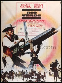 5j826 SOMETHING BIG French 1p 1971 cool image of Dean Martin with giant gatling gun!
