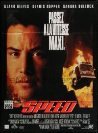 5j829 SPEED French 1p 1994 huge close up of Keanu Reeves & bus driving through flames!