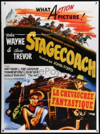 5j836 STAGECOACH French 1p R2010 art of John Wayne in the movie that made him a huge star!